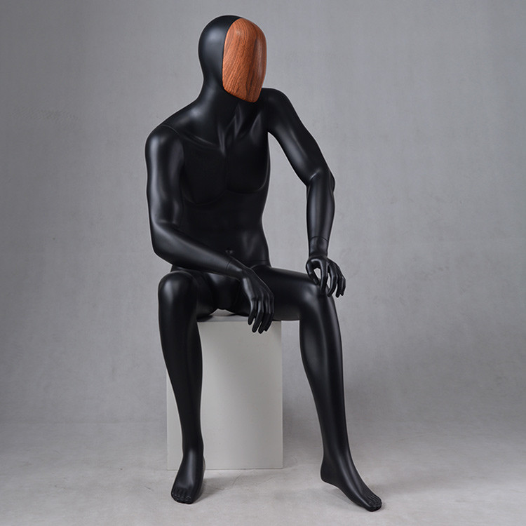 MAX-4N Custom black mannequin male sitting dummy mannequin