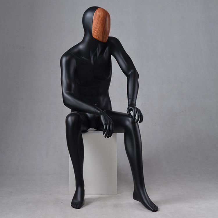 MAX-4N Custom black mannequin male sitting dummy mannequin