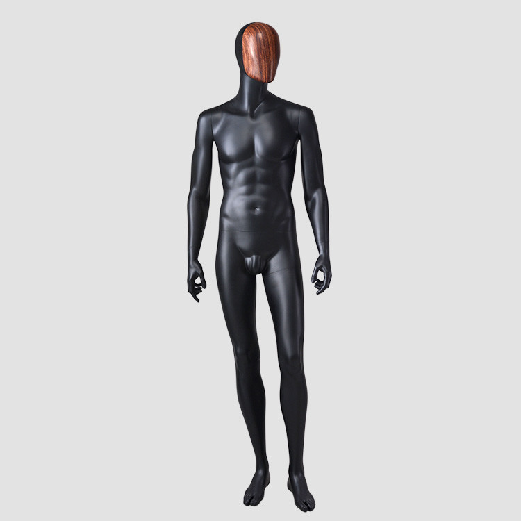 YSM-8  Standing muscle balck mannequin male with wooden face mask