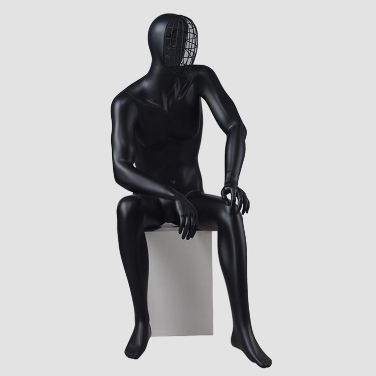 MAX-4N Sitting change face mask black mannequin male