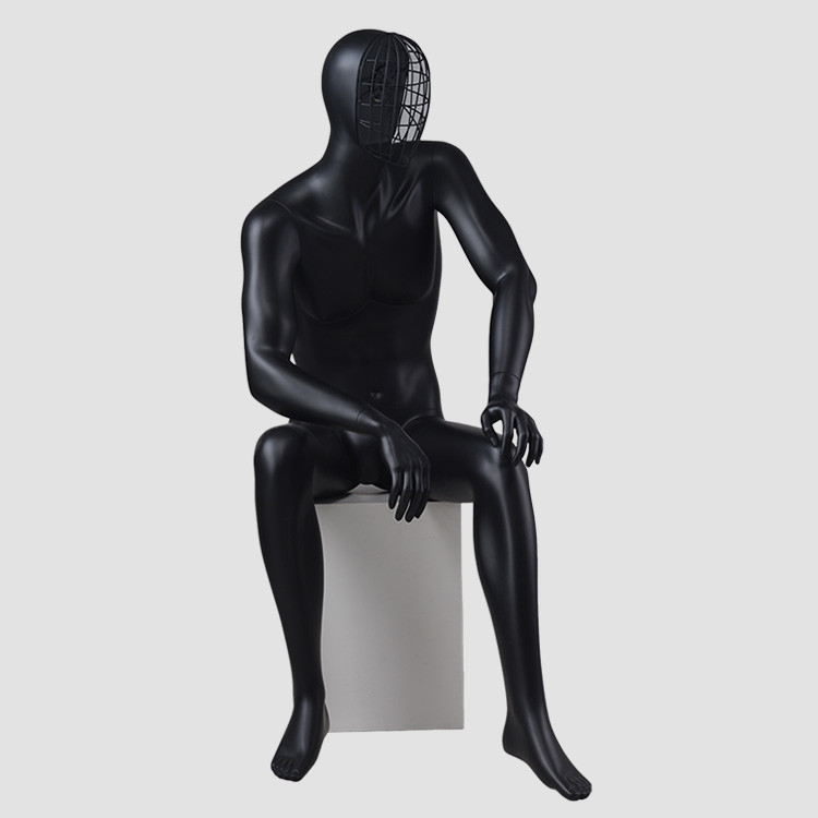 MAX-4N Sitting change face mask black mannequin male