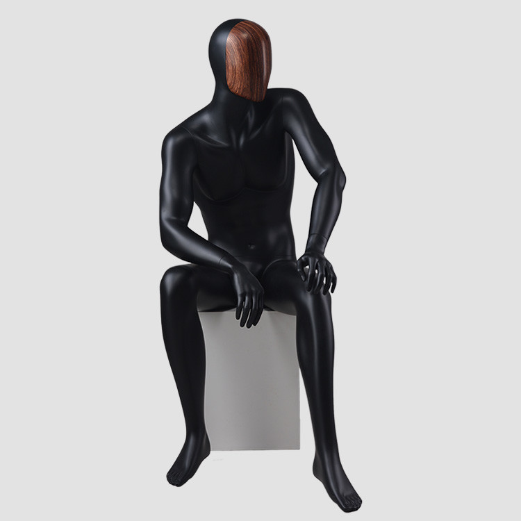 MAX-4N Change face mask black sitting mannequin male for display