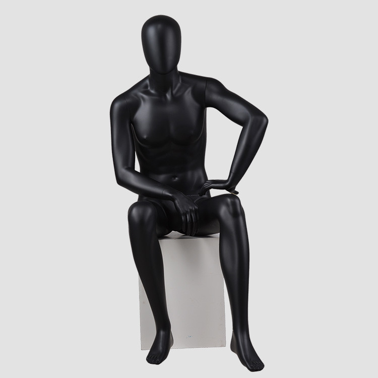 CM-01 Sitting black mannequin male for display