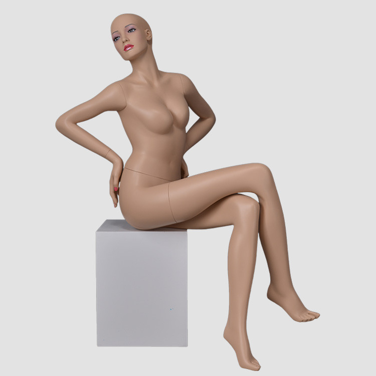 KS-14 Sexy lifelike mannequin full body skin color female sitting mannequin