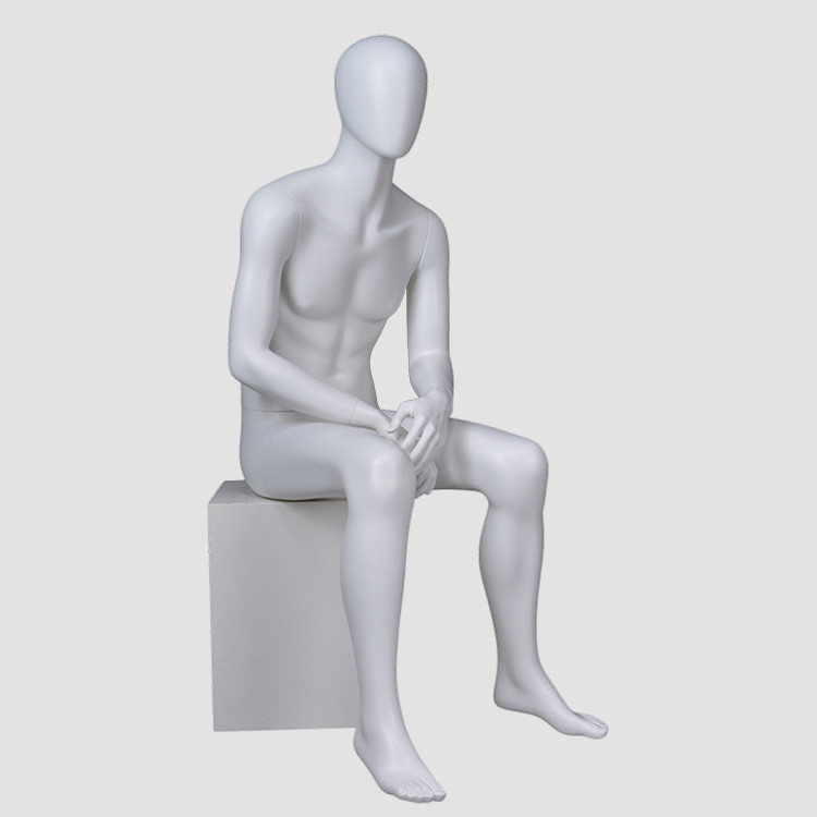 YB-4 New design sitting male mannequin full body matte white mannequin men