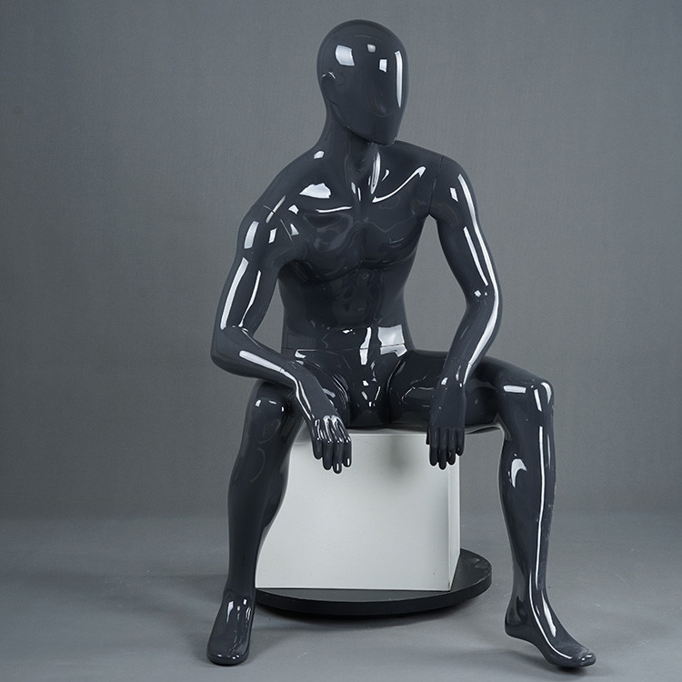 RTM-5 Black glossy male sitting mannequin store display mannequin
