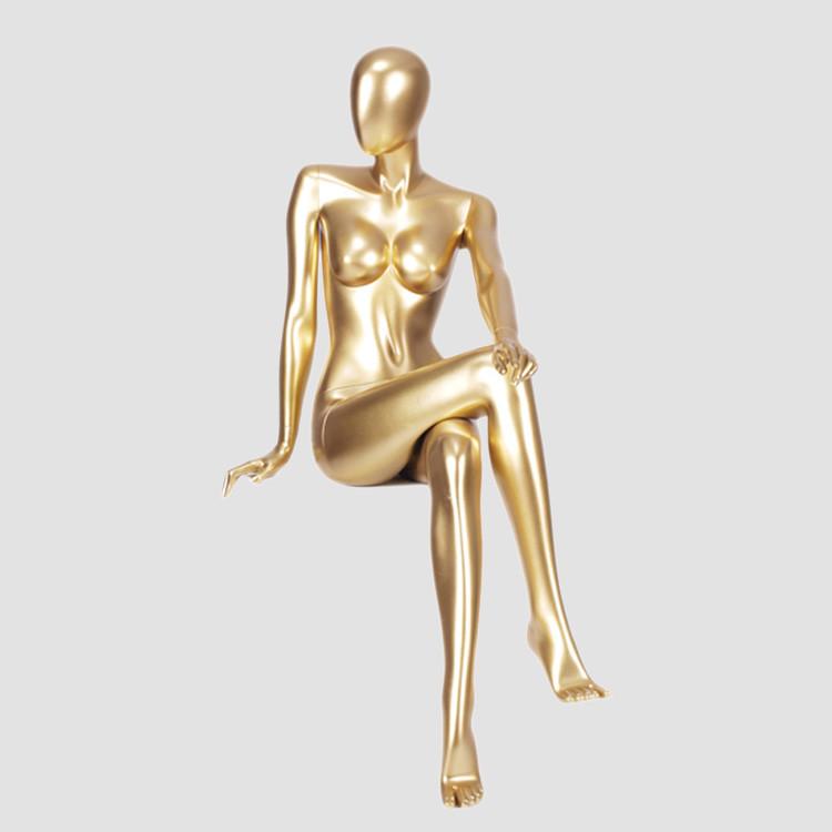 MNF-4 Sitting female glossy golden mannequin for dress display
