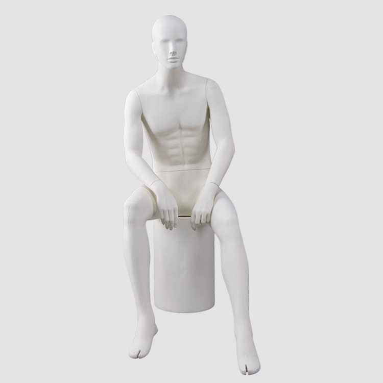 MKHF-4 Sitting matte white male mannequin for clothes display