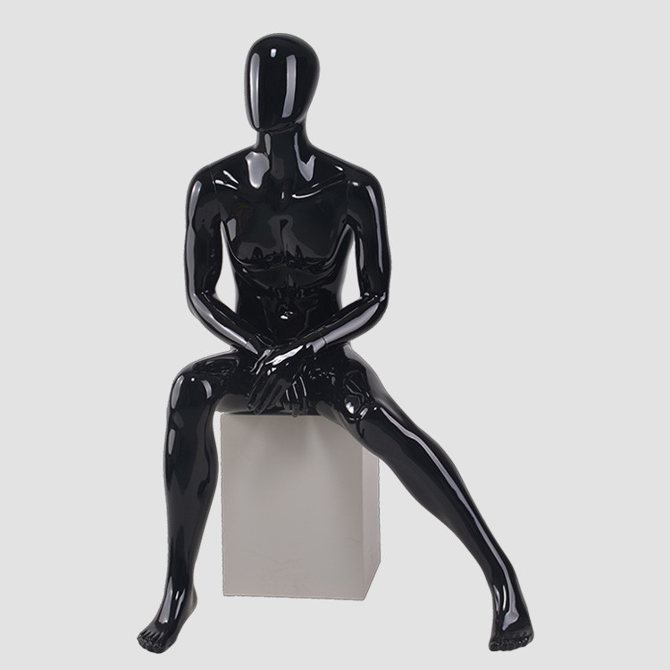 M3401 Glossy black sittting male mannequin for business suit display