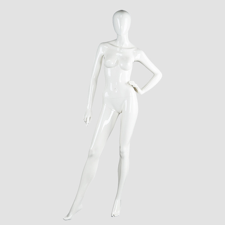 LADF-4 Glossy white fiberglass female mannequin for clothes display