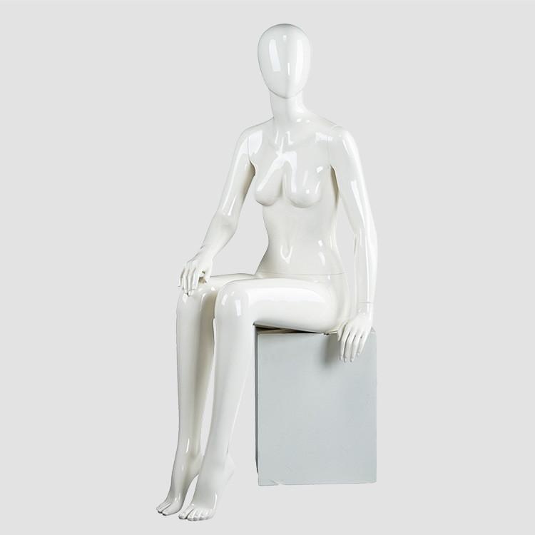 SQF-3 Glossy white egg head female sitting mannequin on sale