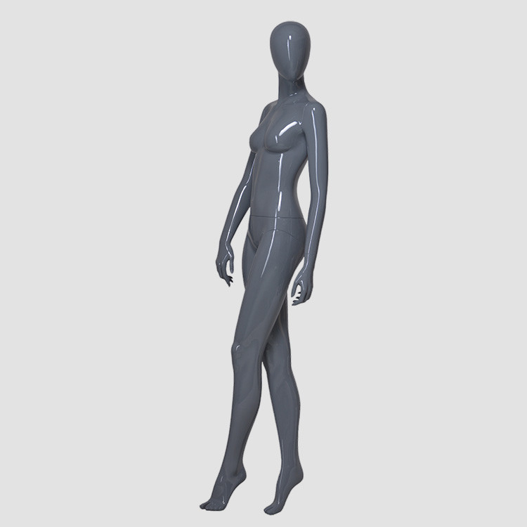 KF-07 Glossy grey color sexy pose female mannequin torso