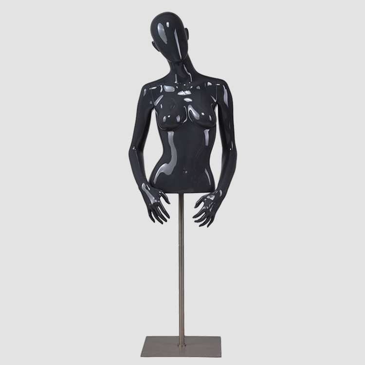 F-2202T Glossy black half body female mannequin torso with hanging stand