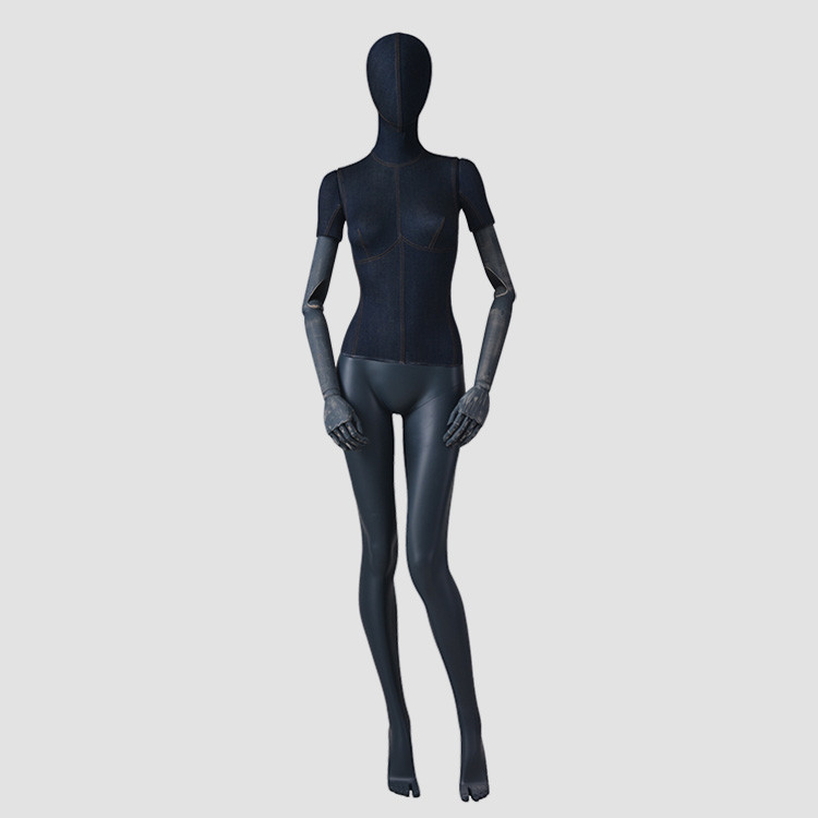 F-2206-AH fashion full body female mannequin denim wrapped finished for retail store display