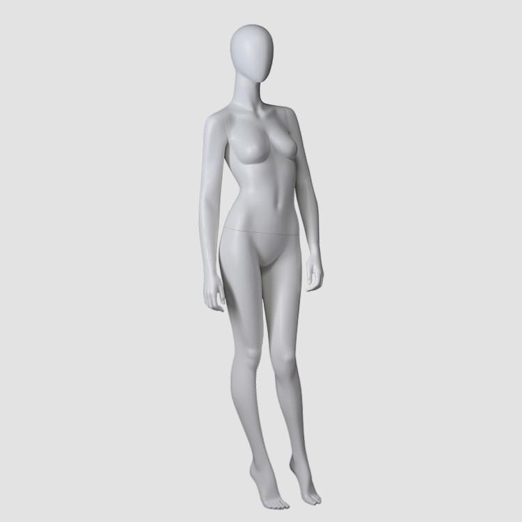 F-2206 MIND Matte white fiberglass female faceless egg head mannequin
