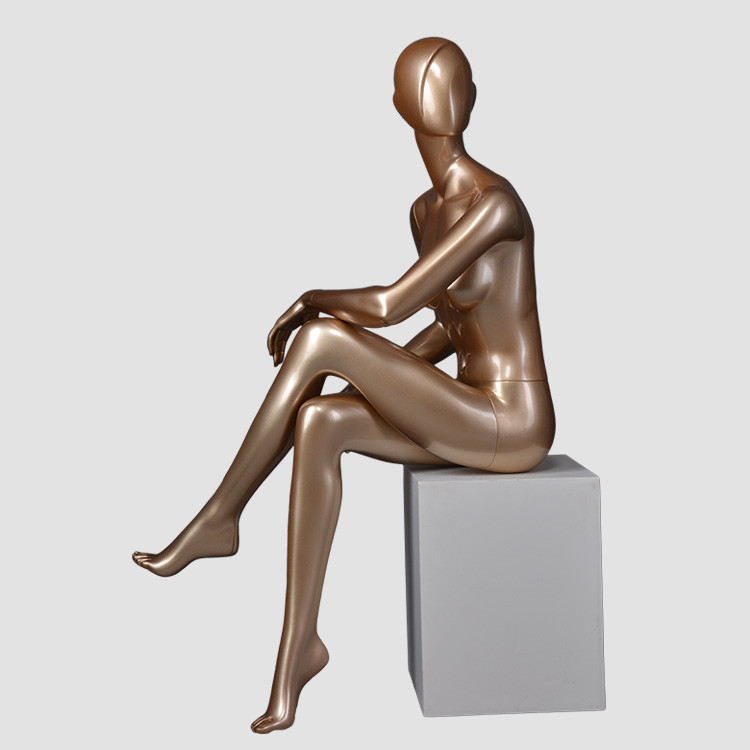 DYF-7 sexy pose female mannequin sitting  full body gold mannequin