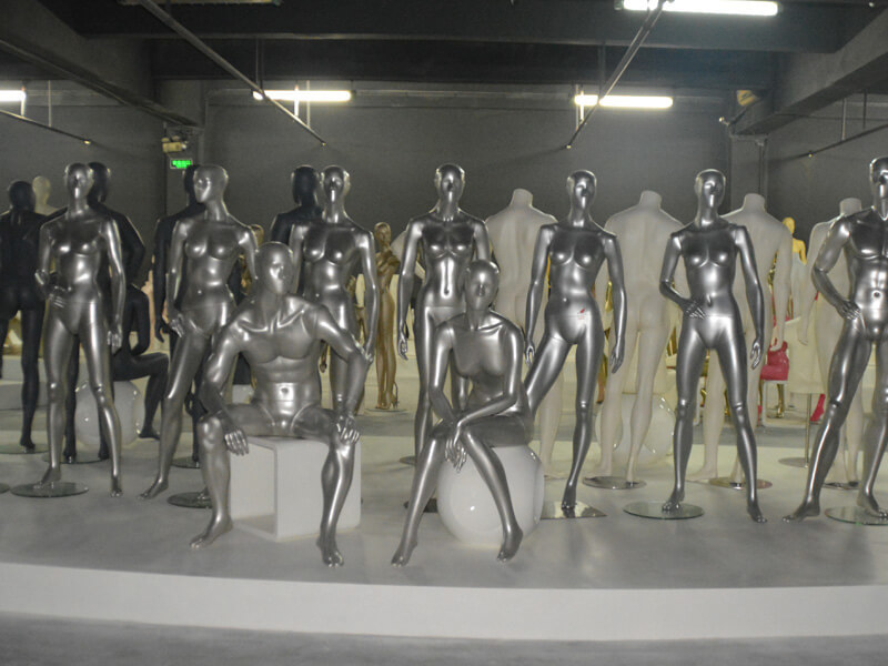 Sliver female and male mannequins