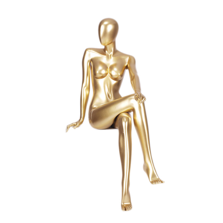 MNF-4 Sitting female glossy golden mannequin for dress display