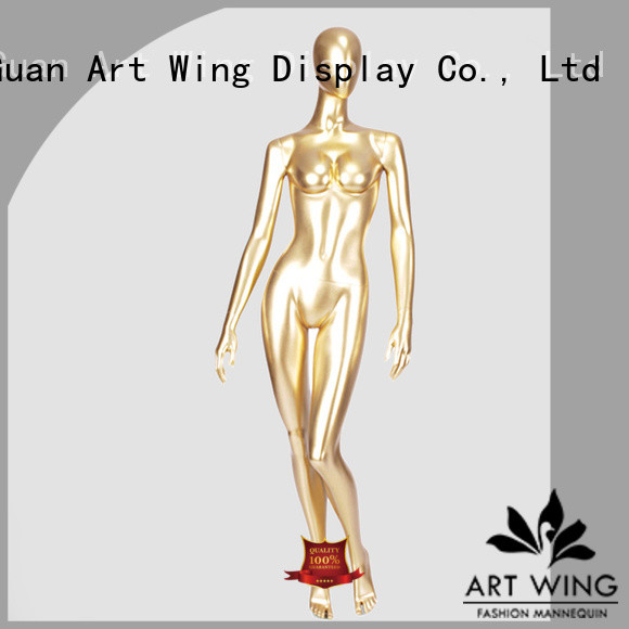 Art Wing gold poseable female mannequin personalized for shrit