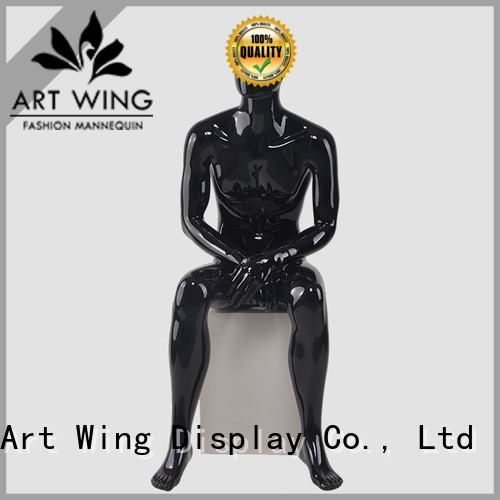 YB-4 Full body glossy black fiberglass male mannequin for dsiaply