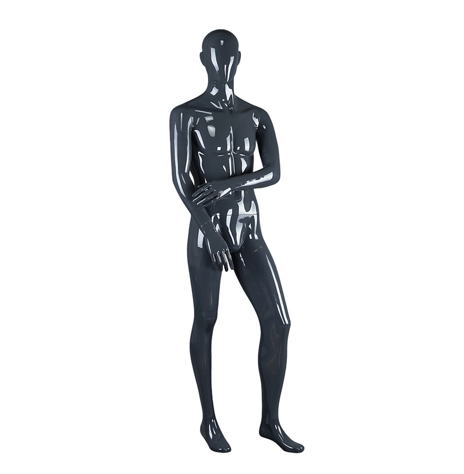 BOM-7 Men size glossy black male mannequin full body clothing store mannequins