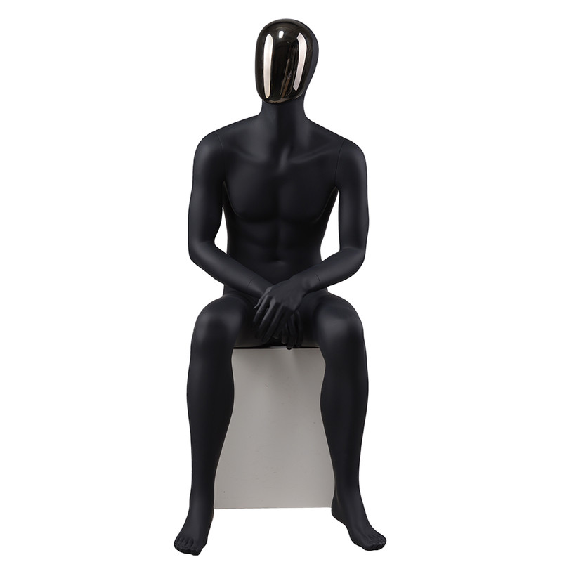 YB-4 Fashion design black full body mannequin male with changable face