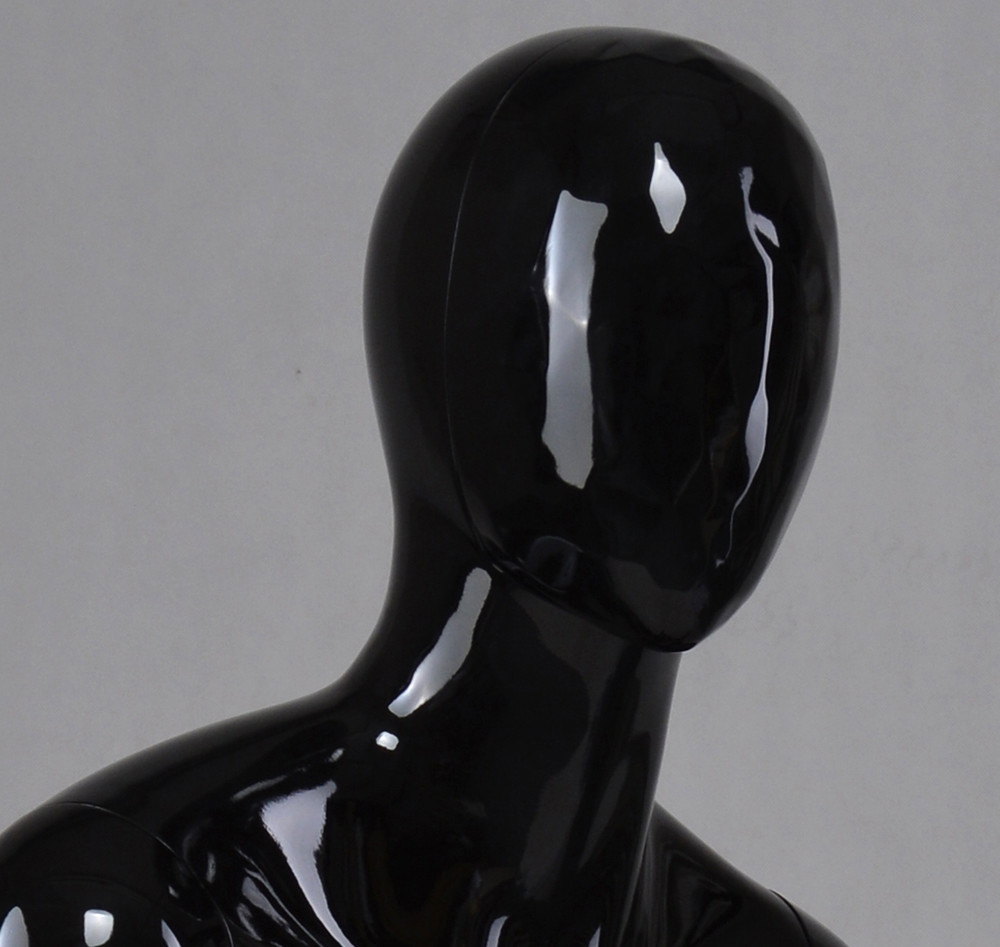 YB-4 Change face mask high glossy male black sitting mannequin for display