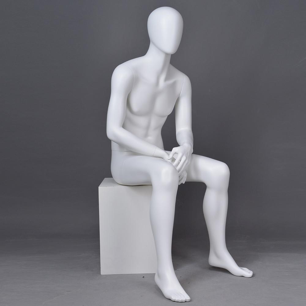 YB-4 New design sitting male mannequin full body matte white mannequin men