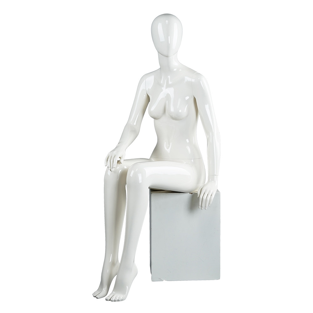 SQF-3 Glossy white egg head female sitting mannequin on sale