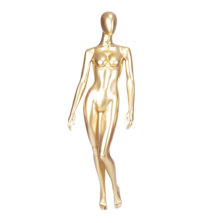 MNF-1 Fashion designer glossy gold female mannequin for display