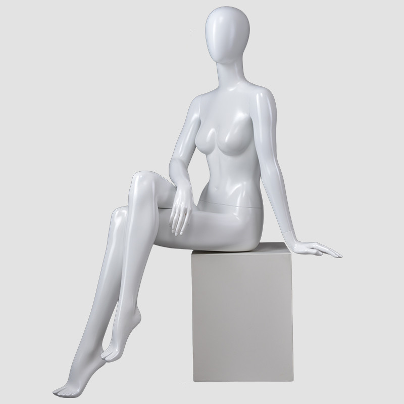 BDS Glossy wihite female sitting mannequin full body mannequin for dress