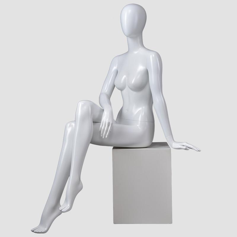 BDS Glossy wihite female sitting mannequin full body mannequin for dress