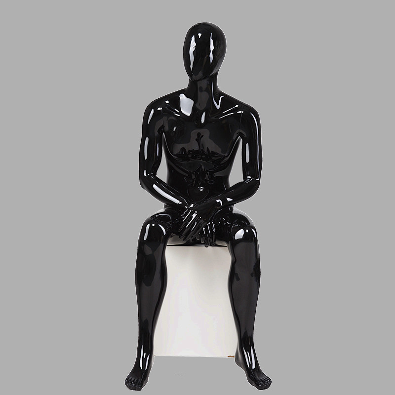 70-S4 Fashion mannequin male black sitting display male manikin for window display