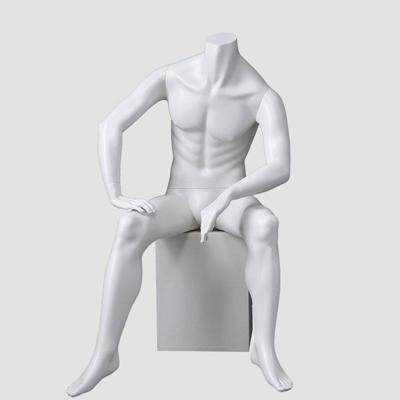 JB-2 Full size headles male mannequin sitting muscular male mannequin for shop display