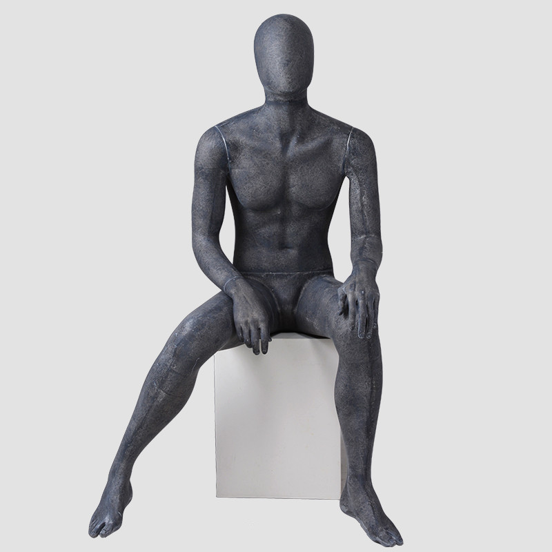 MPM-3 Sexy lifelike male mannequins sitting abstract male black mannequins