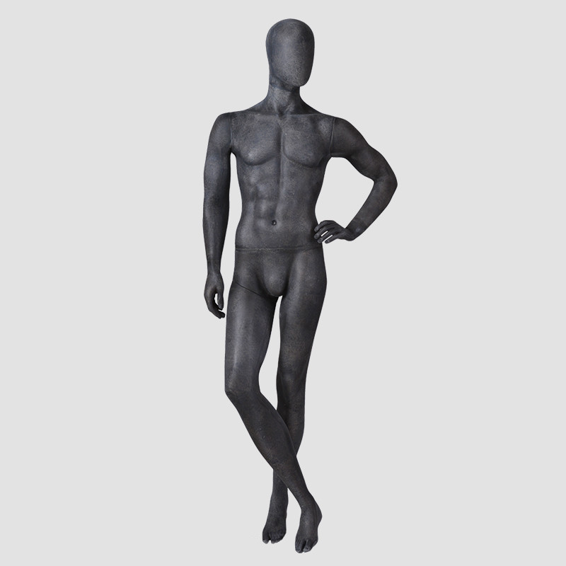 MPM-5 Full body maniquine men black fiberglass male muscle model mannequin