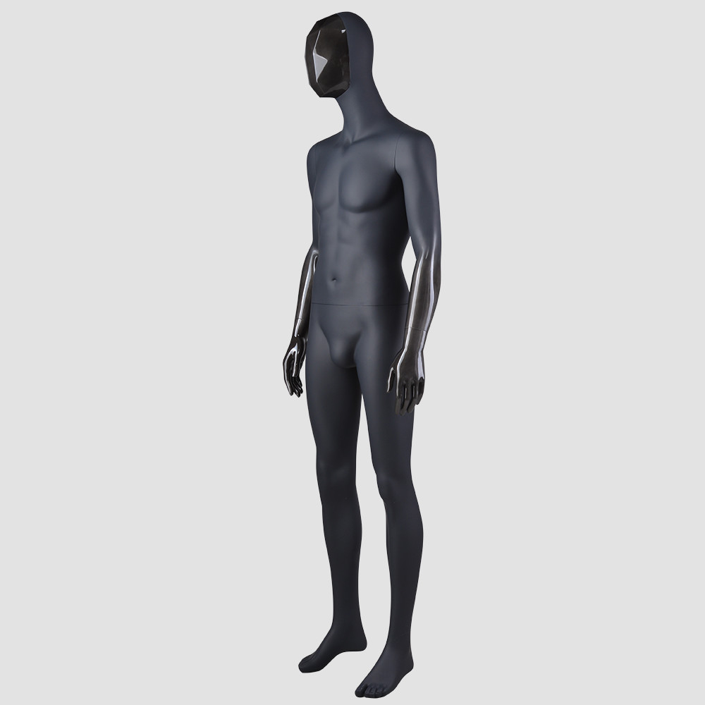 FJ-2 Full body balck male manichini with change faces fibergalss mannequin for male clothes