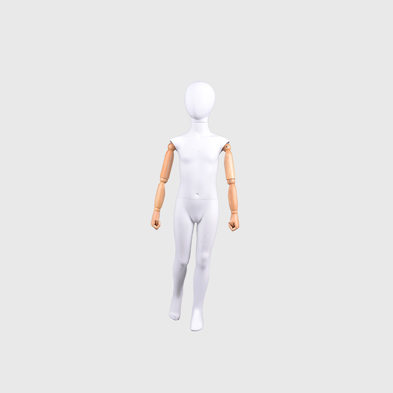 Flexible child kids mannequin child with wooden arms