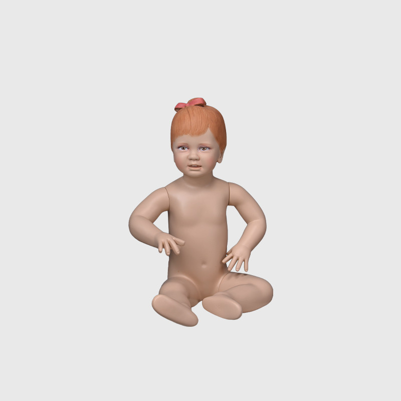 Cute baby realistic girl mannequin in skin color