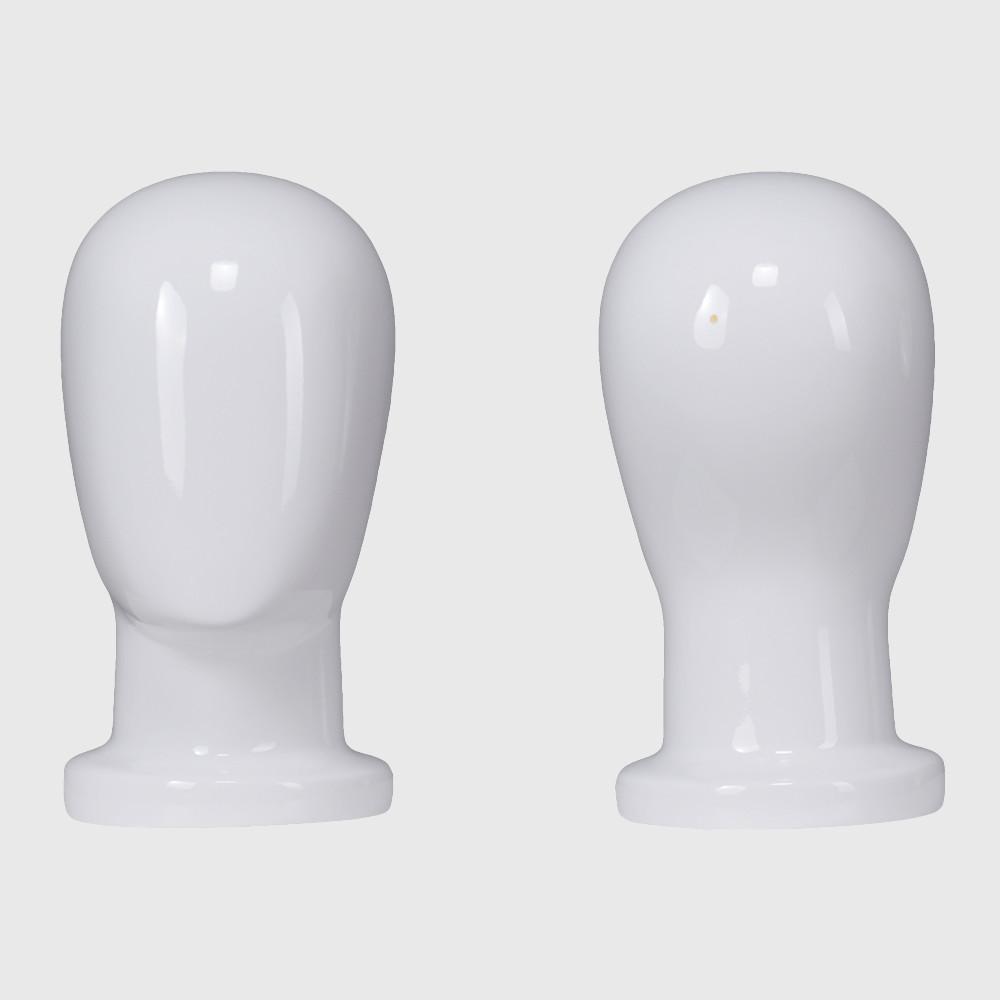Custom fiberglass glossy white bald mannequin head
