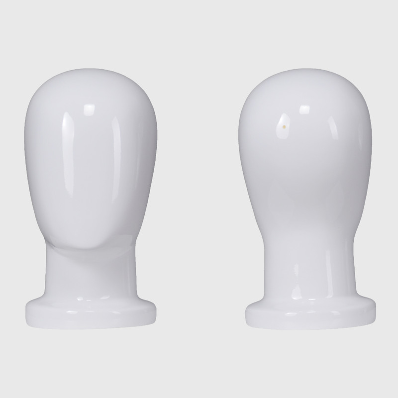 Custom fiberglass glossy white bald mannequin head