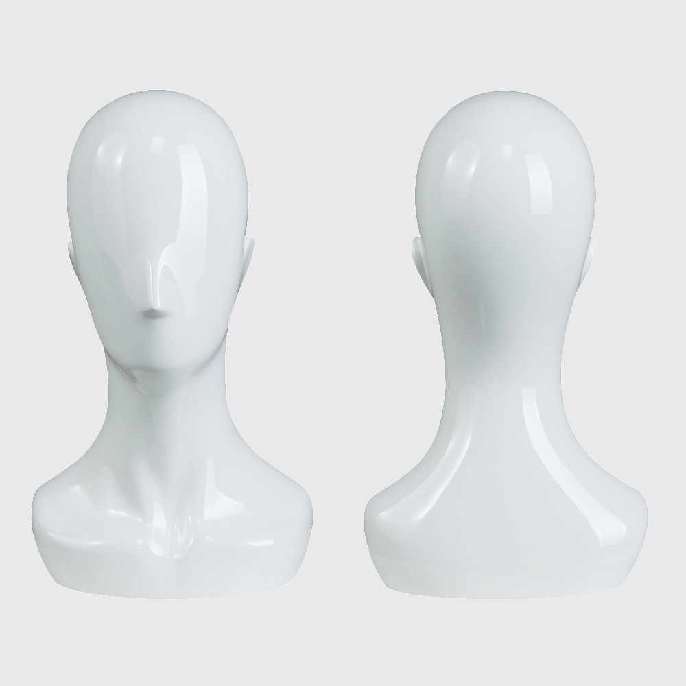 Display glossy  white color mannequin head