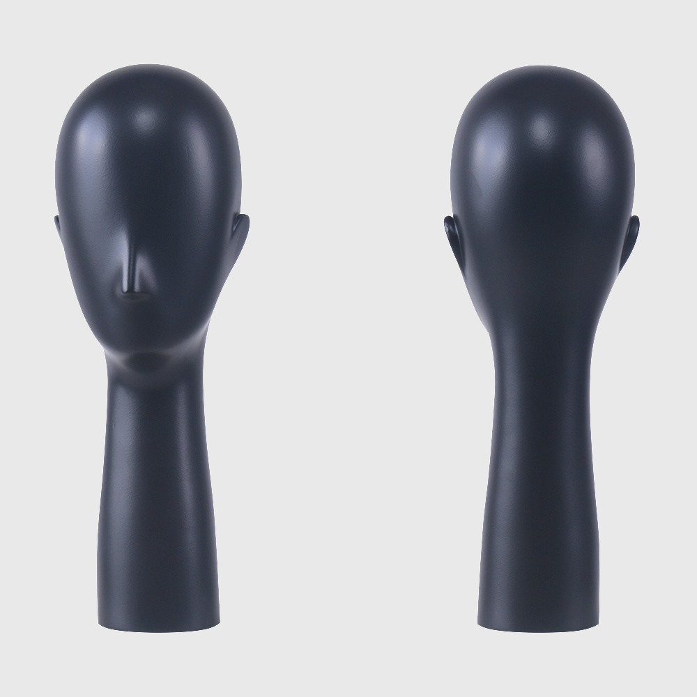 Wholesale long neck black mannequin head