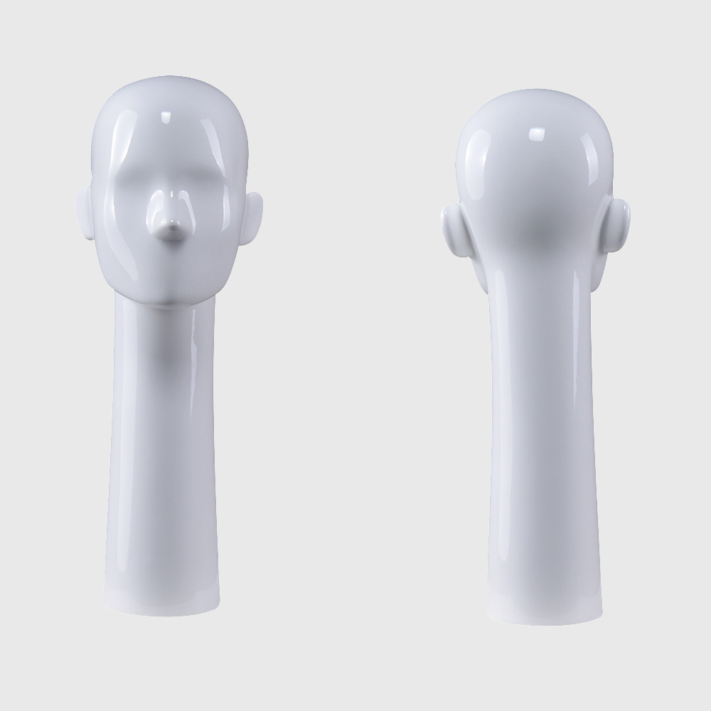 Long neck mannequin head glossy white female head mannequin