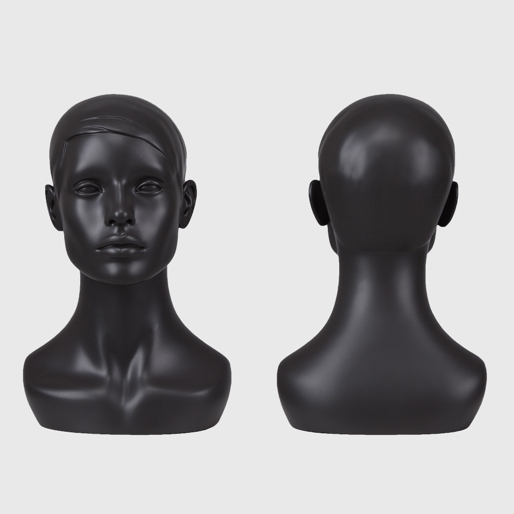 Realistic mannequin head black head mannequin for sale