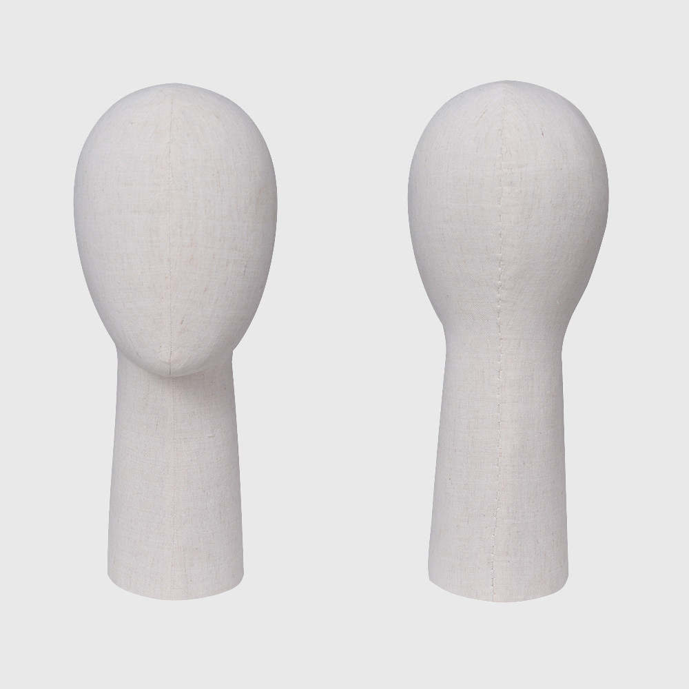Abstract bald maniquie head with mannequin head fabric