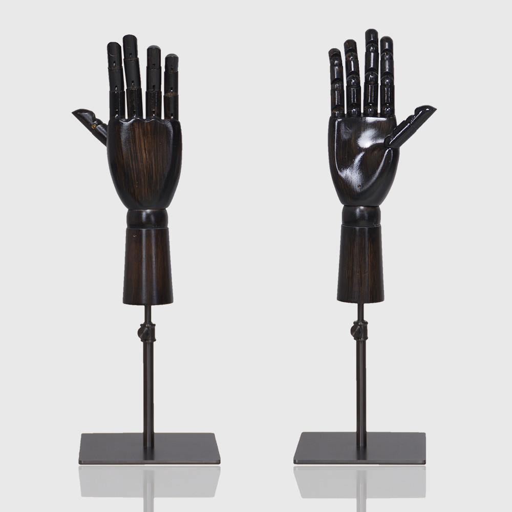 Wooden mannequin hand with metal stand for wrist watch display mannequin hand