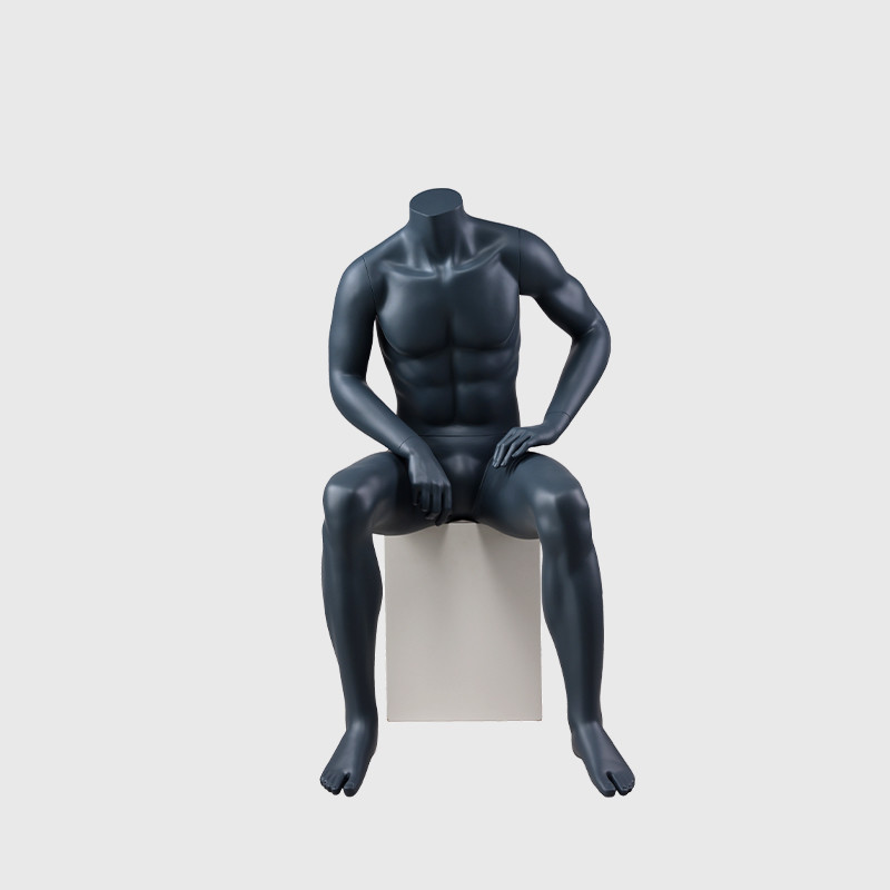 Sitting muscle mannequin black muscle man mannequins on sale