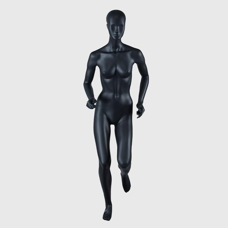 Realistic black sports female mannequin running