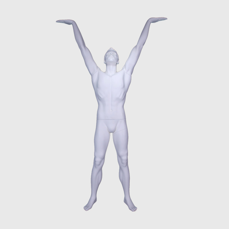 Malemusclemannequin lifting up action mannequin